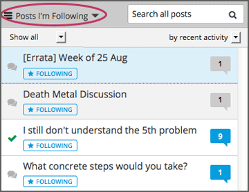 "The list of posts with the ""Posts I'm Following"" filter selected. Every post in the list shows the following indicator."