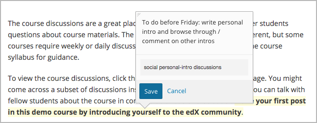 Part of a course page showing a student note that includes three tags.