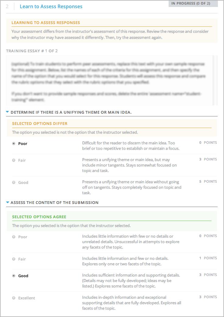 Sample Training Response, Scored