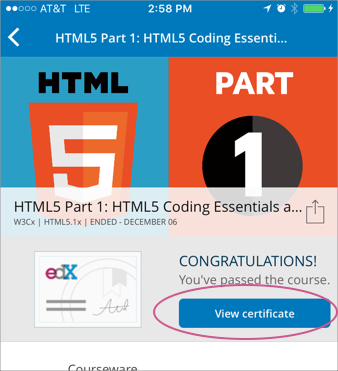 6 getting a course certificate or badge open edx learner s guide